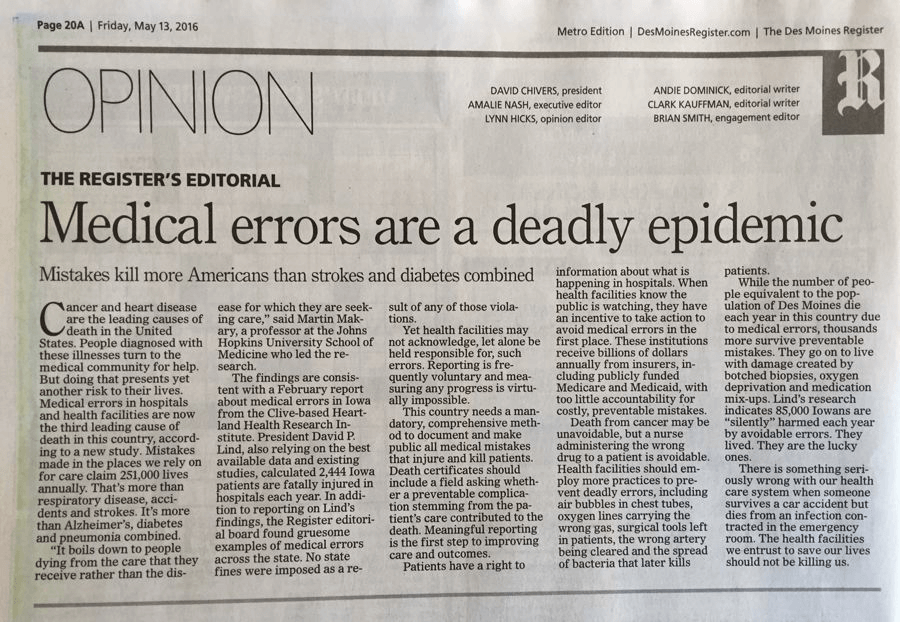Medical errors are a deadly epidemic DM Register editorial 5_13_16